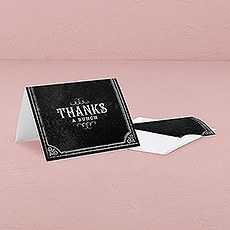 Thank You Card with Fold with Chalkboard Print Design