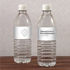 Monogram Simplicity Water Bottle Label - Classic Filigree
