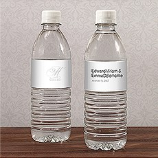 Monogram Simplicity Water Bottle Label - Elegant
