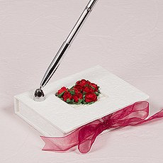 Flower of Love In Romantic Red Mulberry Paper Wrapped Pen Set