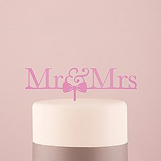 Mr & Mrs Bow Tie Acrylic Cake Topper - Dark Pink