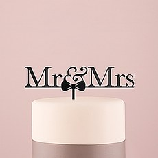 Mr & Mrs Bow Tie Acrylic Cake Topper - Black