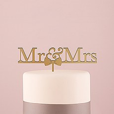 Mr & Mrs Bow Tie Acrylic Cake Topper - Metallic Gold