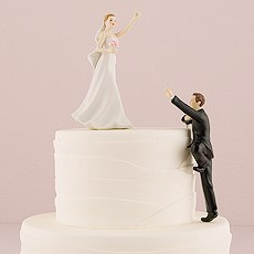 Climbing Groom and Victorious Bride Mix & Match Cake Toppers