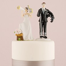 Hockey Player Groom Wedding Cake Topper