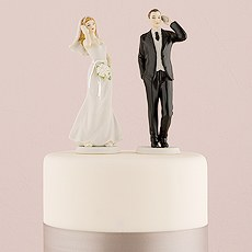 Cell Phone Fanatic Bride and Groom Mix & Match Cake Toppers