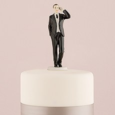 Cell Phone Fanatic Groom Wedding Cake Topper Figurine