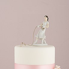 Western Lasso Bride Wedding Cake Topper Figurine