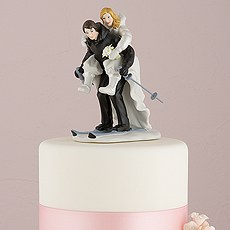 Winter Skiing Porcelain Wedding Cake Topper