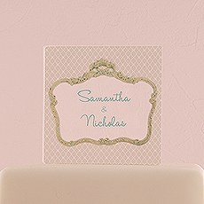 Vintage Frame Personalised Clear Acrylic Block Cake Topper