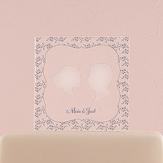 Silhouette Engraved Personalised Acrylic Block Cake Topper