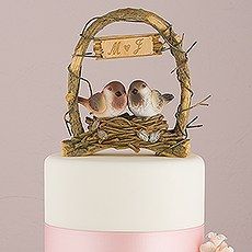 """A Love Nest"" - Love Birds in Archway Cake Topper"