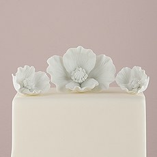 White Porcelain Bisque Poppy Blooms Cake Topper