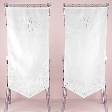 Linen Chair Banners with Embroidered Mr. & Mrs. Inscriptions