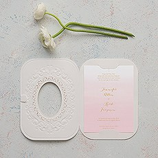 Embossed Pearls and Lace with Aqueous Personalisation - Invitation