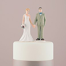 Woodland Bride and Groom Porcelain Figurine Wedding Cake Topper