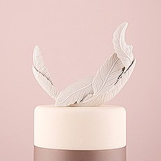 White Feather Porcelain Wedding Cake Topper