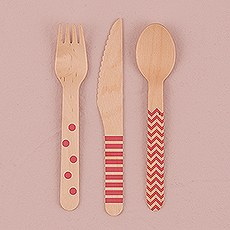Eco Wood Utensil Set With Pink Print 12