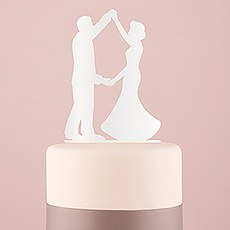 Dancing Silhouette Acrylic Cake Topper - White