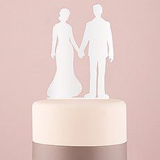 Hands Silhouette Acrylic Cake Topper - White