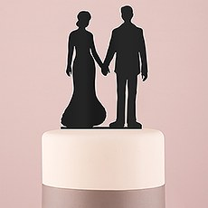 Hands Silhouette Acrylic Cake Topper - Black