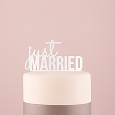 Just Married Acrylic Cake Topper - White