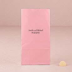 Foiled with Text Only Block Bottom Stand Up Paper Favour Bag Pack 25