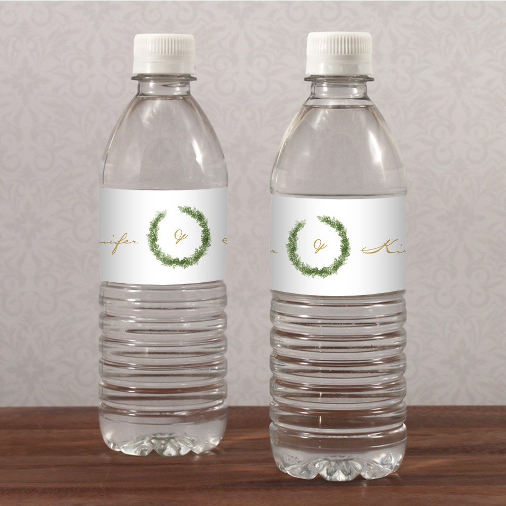 Love Wreath Water Bottle Label