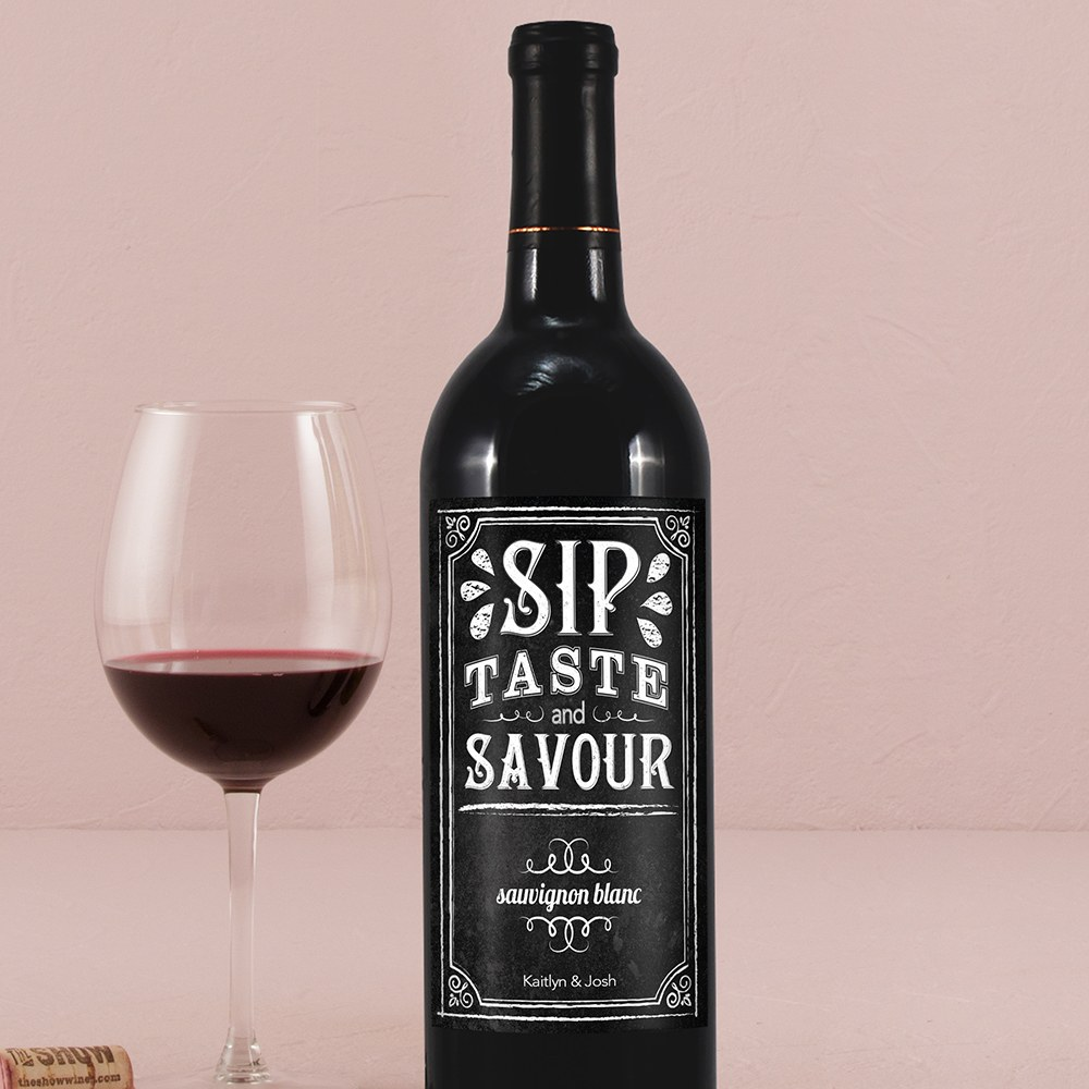 Wine Label with Chalkboard Print Design