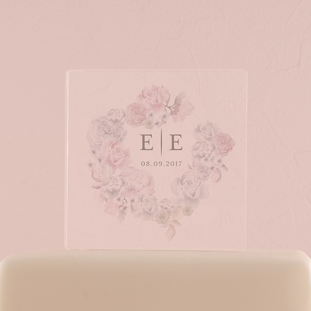 Floral Dreams Personalized Clear Acrylic Block Cake Topper