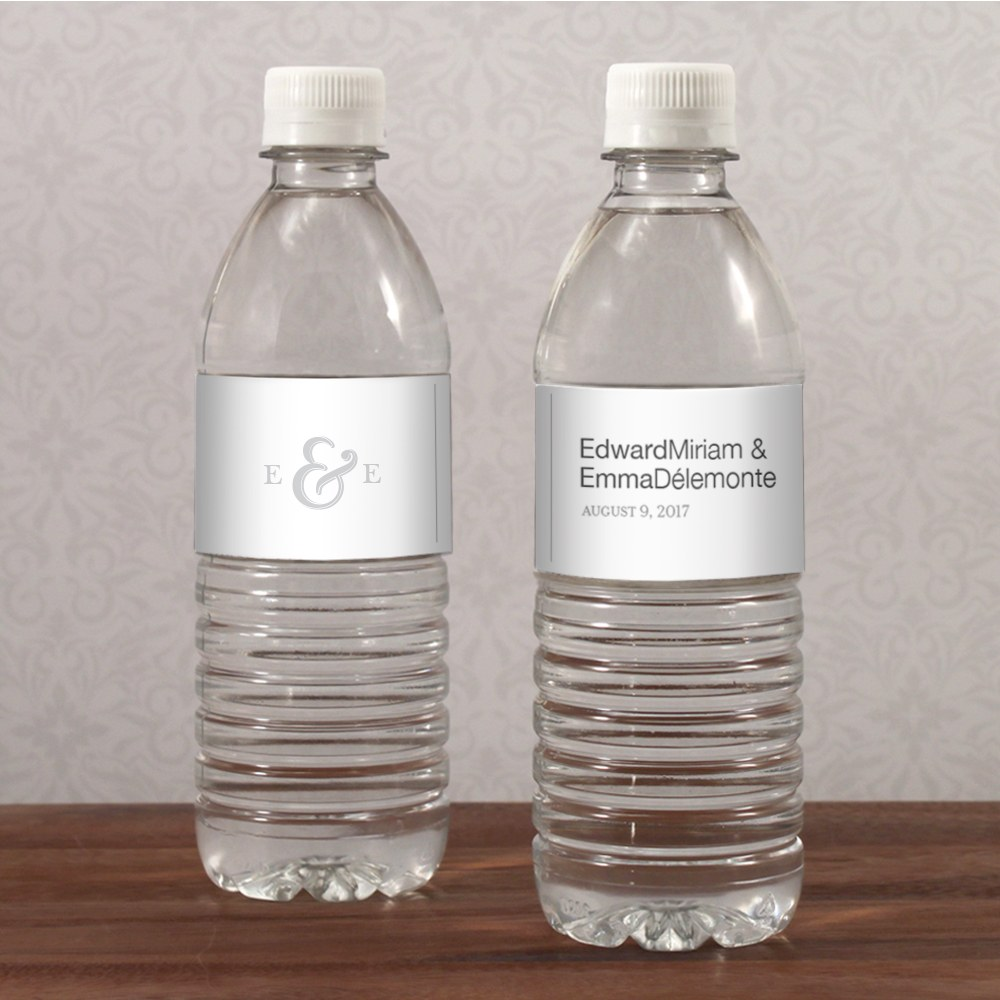 Monogram Simplicity Water Bottle Label   Simple Ampersand