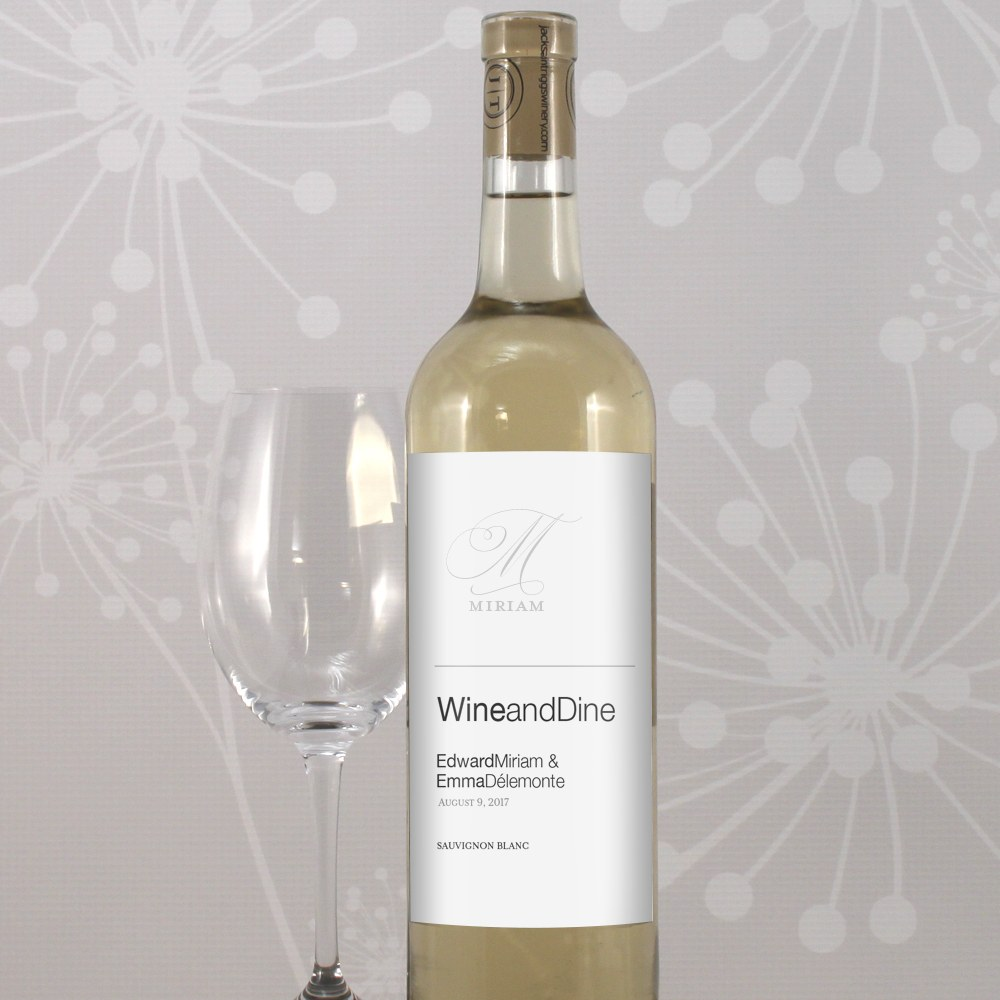 Monogram Simplicity Wine Label   Elegant