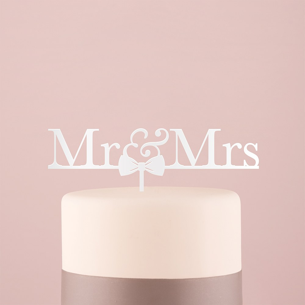 Mr & Mrs Bow Tie Acrylic Cake Topper   White