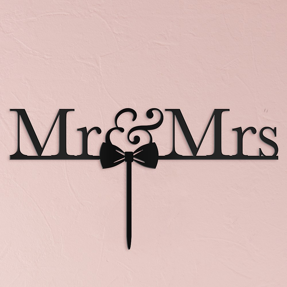 Mr & Mrs Bow Tie Acrylic Cake Topper   Black