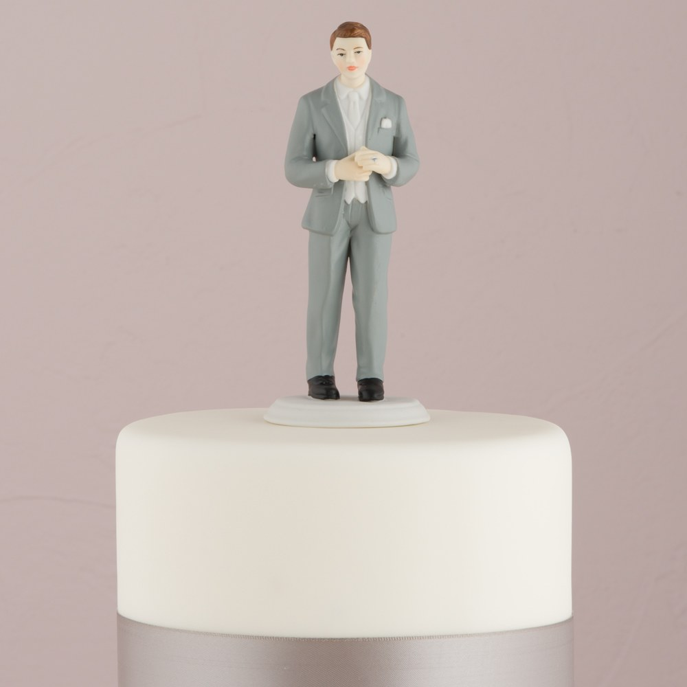 Fashionable Groom In Grey Tux Cake Topper