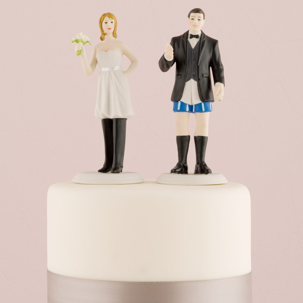 Bride In Charge Wearing Pants and Groom Not In Charge Without Wedding Cake Toppers