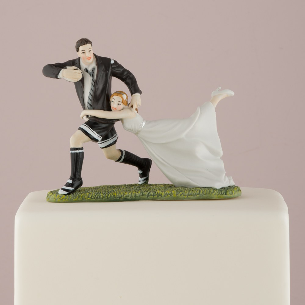 Rugby Couple Wedding Cake Topper