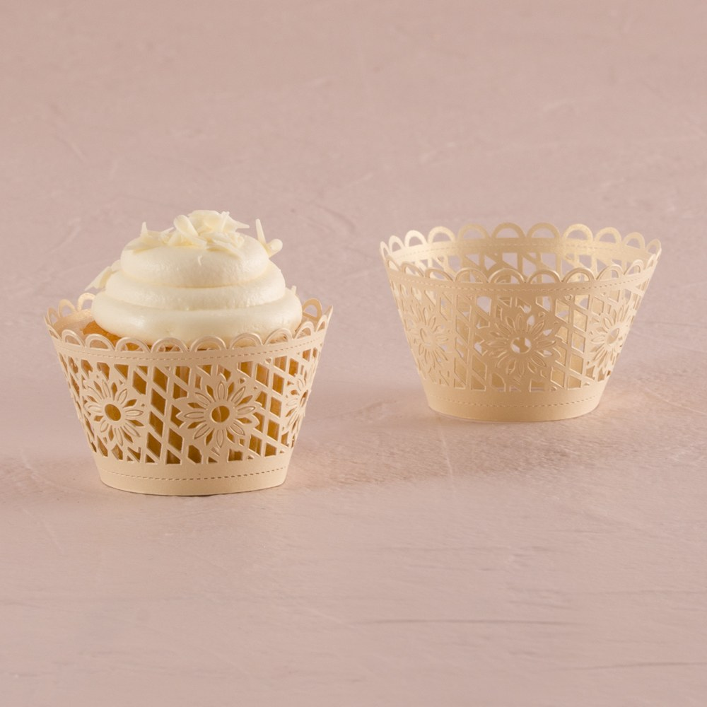 Floral Art Deco Filigree Paper Laser Cupcake Wrappers
