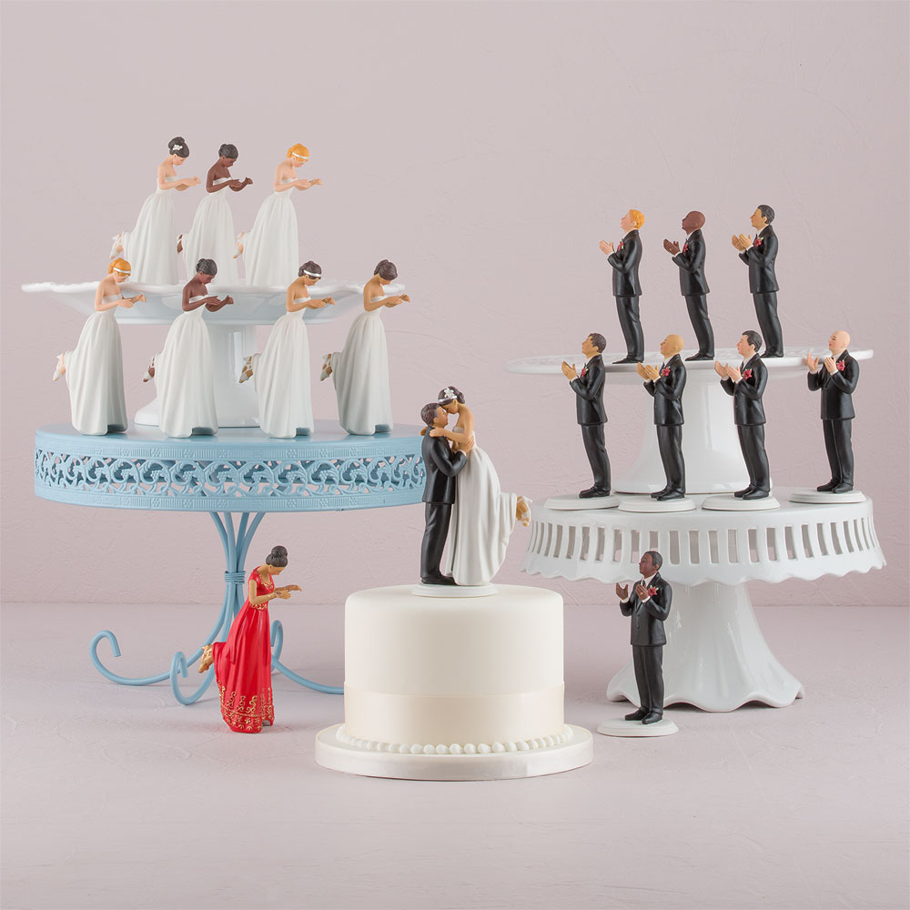 Mix or match interracial asian indian bride and groom true romance wedding cake toppers
