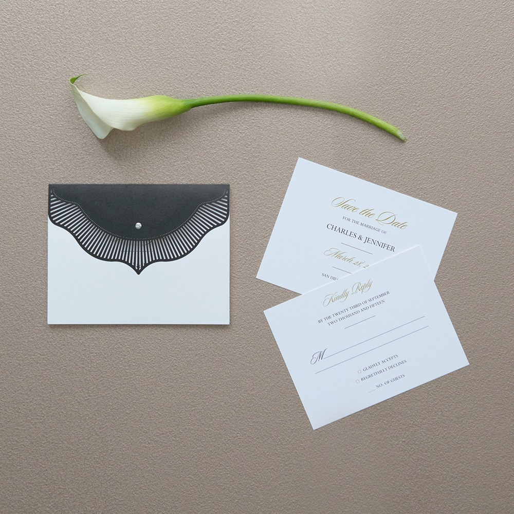 High Style in Black with Crystal Laser Embossed Accessory Cards with Personalization