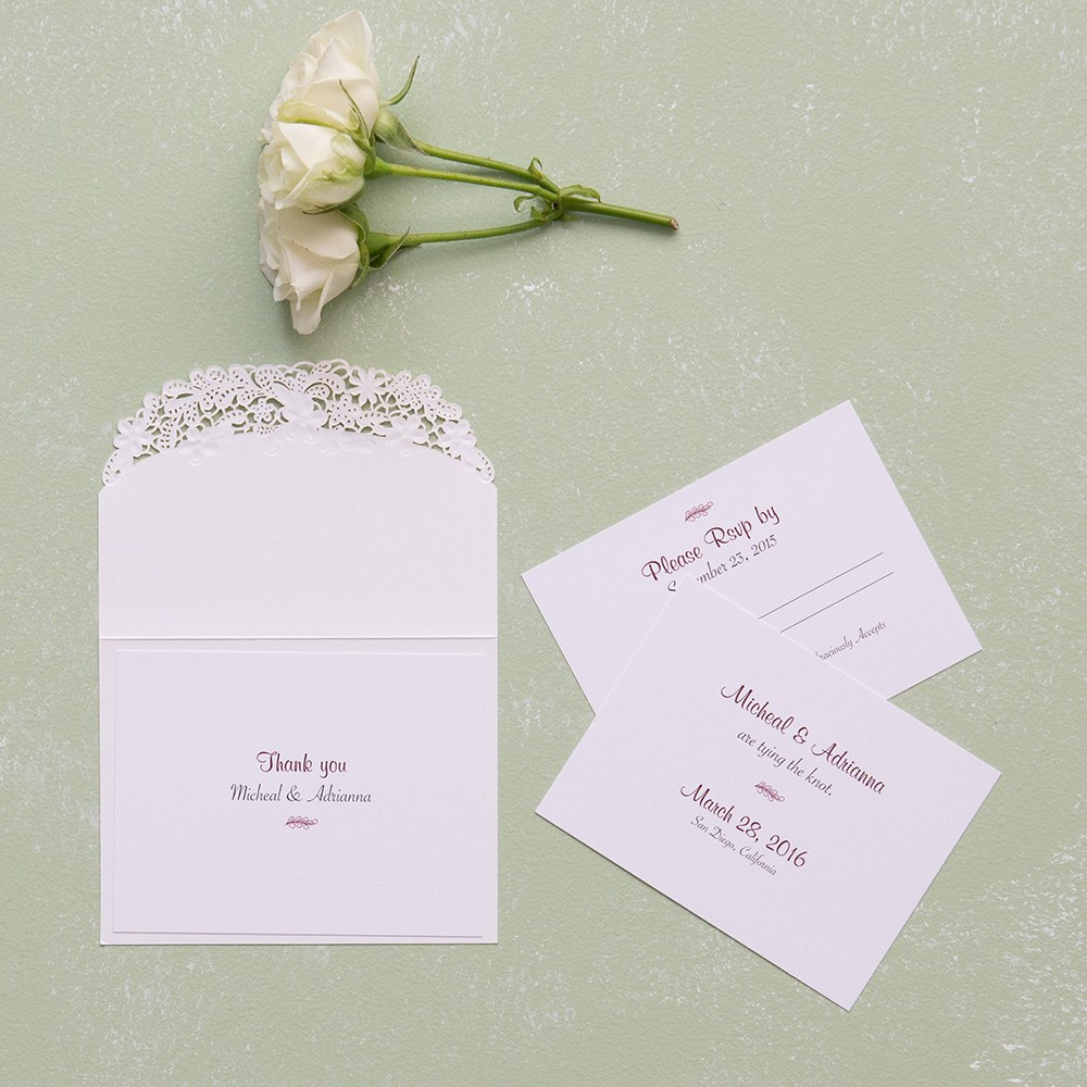 Floral Elegance Laser Embossed Accessory Cards with Personalization