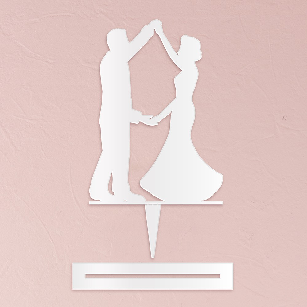 Dancing Silhouette  Acrylic Cake Topper   White