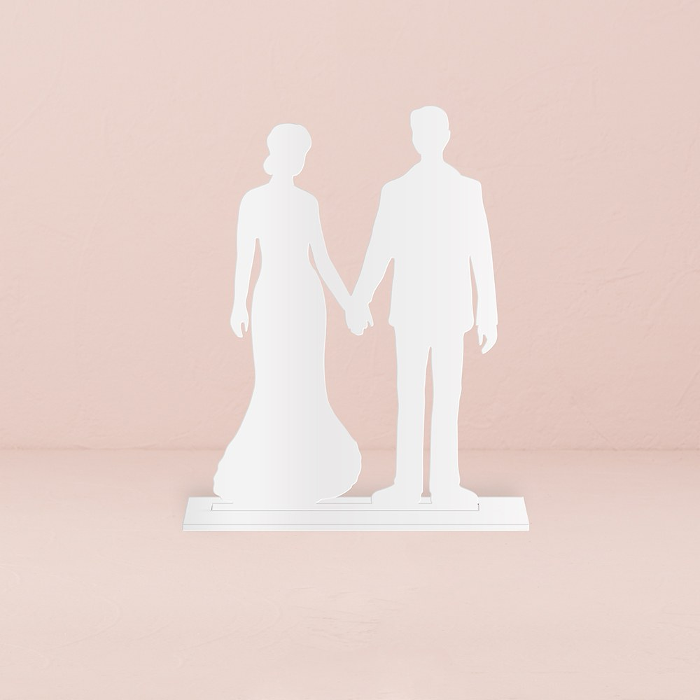 Hands Silhouette Acrylic Cake Topper    White
