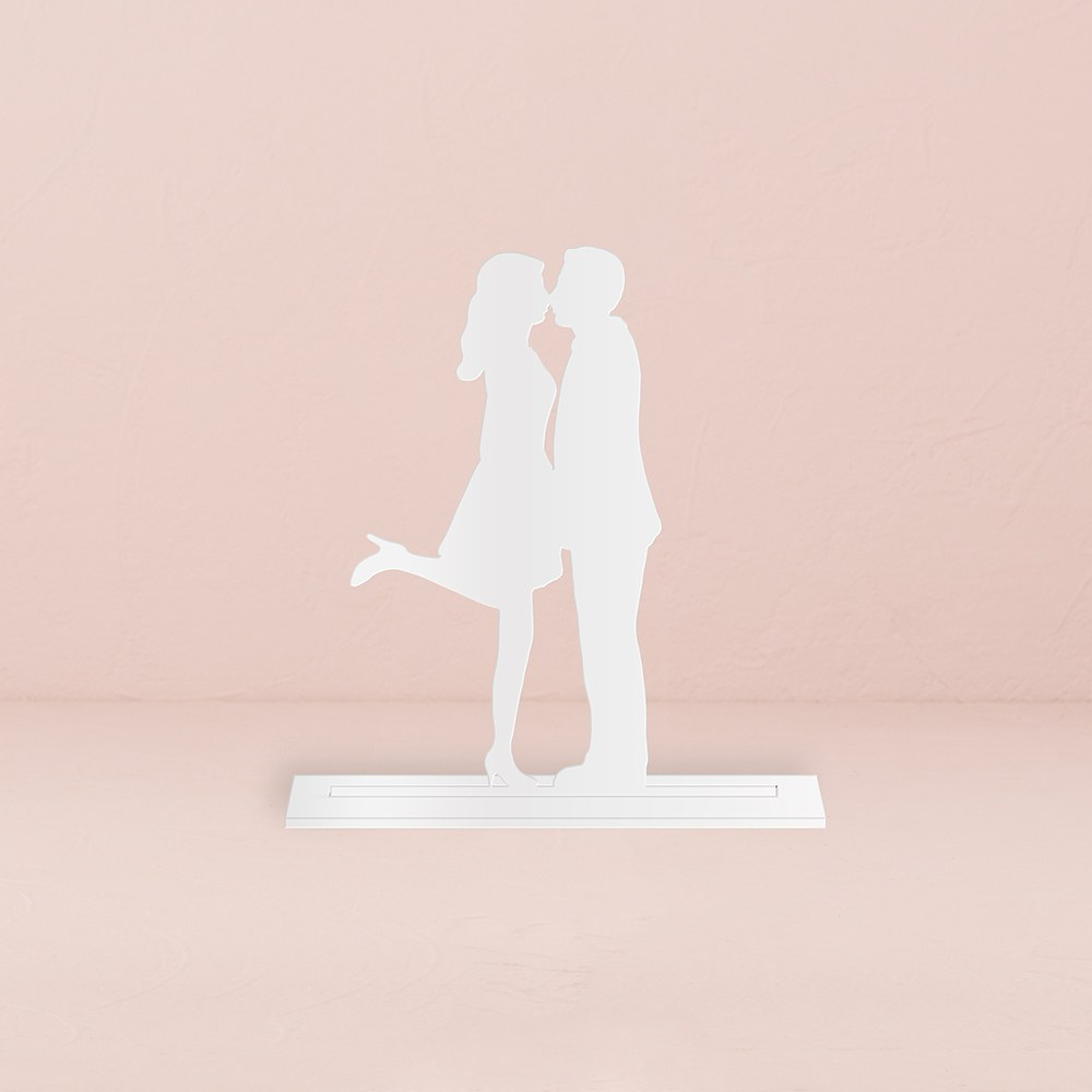 A Kiss Silhouette Acrylic Cake Topper   White