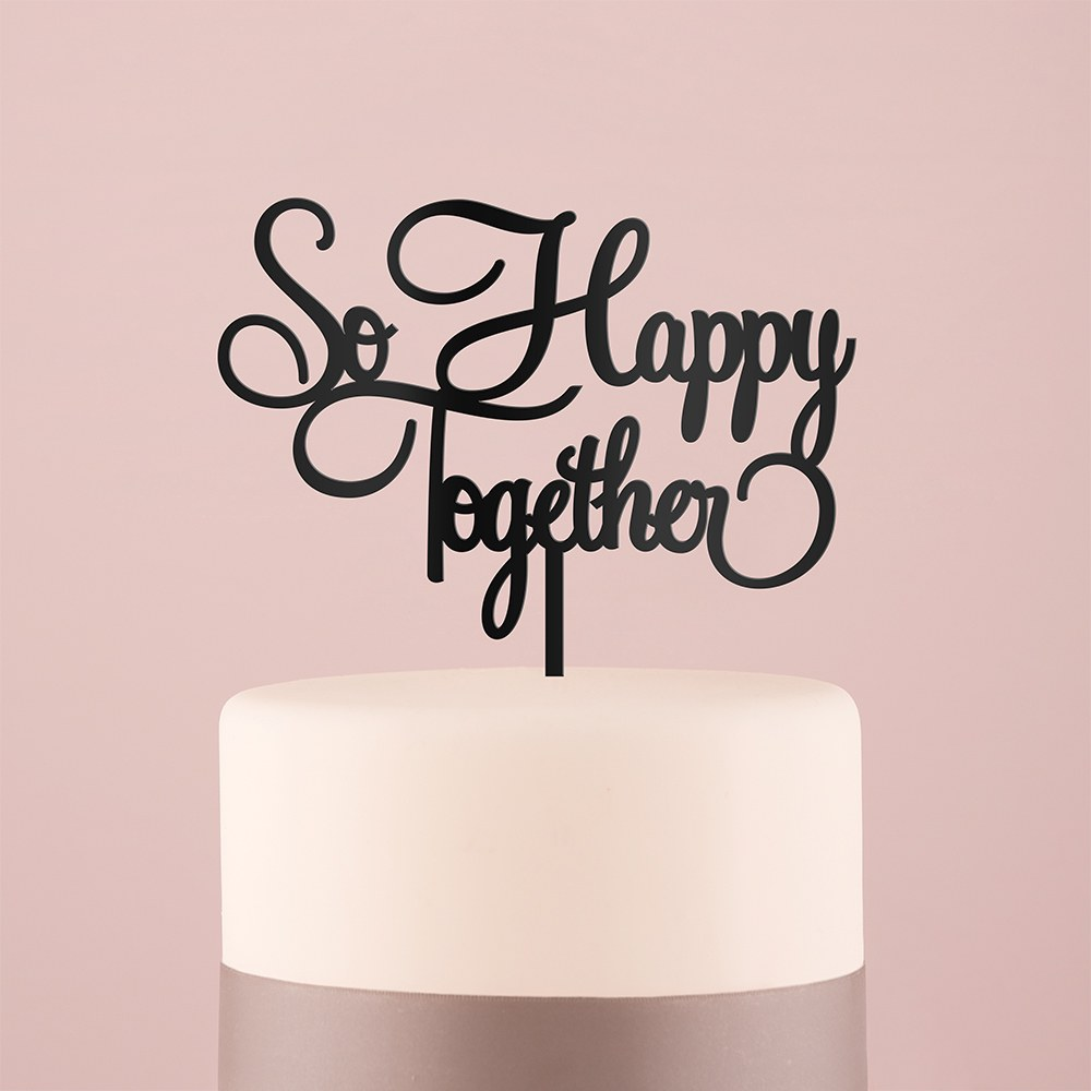 So Happy Acrylic Cake Topper   Black