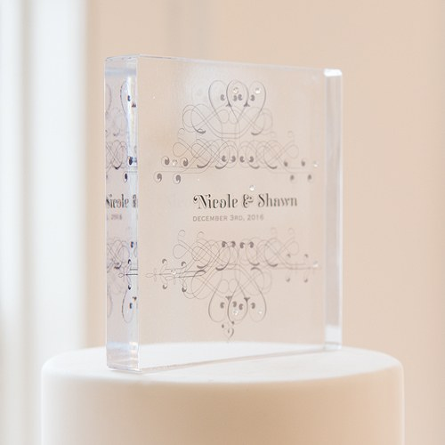 Fanciful Monogram Personalized Clear Acrylic Block Cake Topper