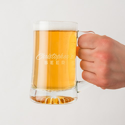 Personalized 14 Oz Glass Beer Mug – Casual Script Font Engraving