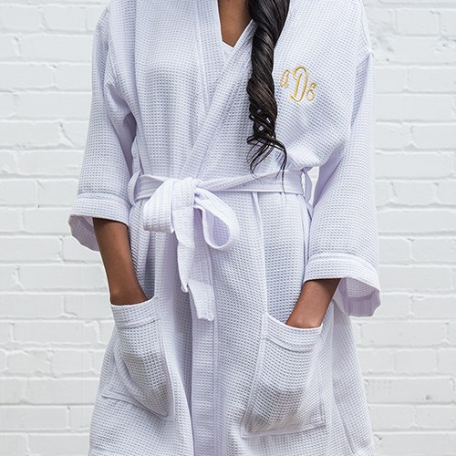 Women s Personalized Embroidered Waffle Spa Robe- White 4f9c66f16