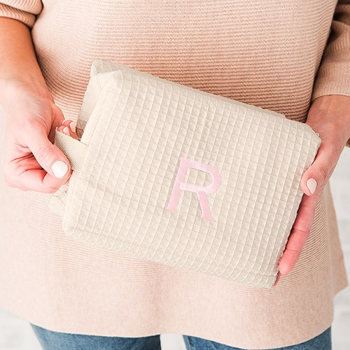Large Cotton Waffle Cosmetic Bag Ivory