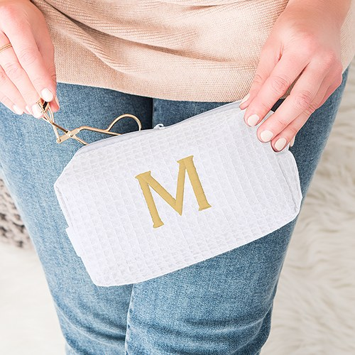 Small Cotton Waffle Cosmetic Bag White